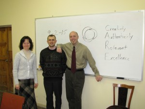 Lance with our translator, Lena, and student, Taras